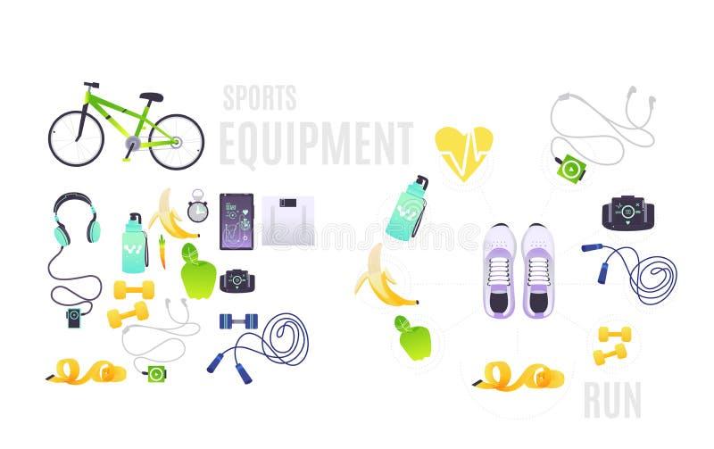 L'article de sport a placé avec des illustrations de bande dessinée des accessoires nécessaires pour la séance d'entraînement illustration stock