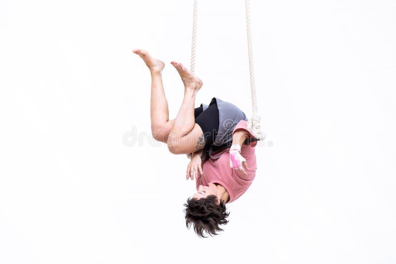 L'artista di trapezio ha appeso sottosopra durante la sua prestazione fotografia stock libera da diritti
