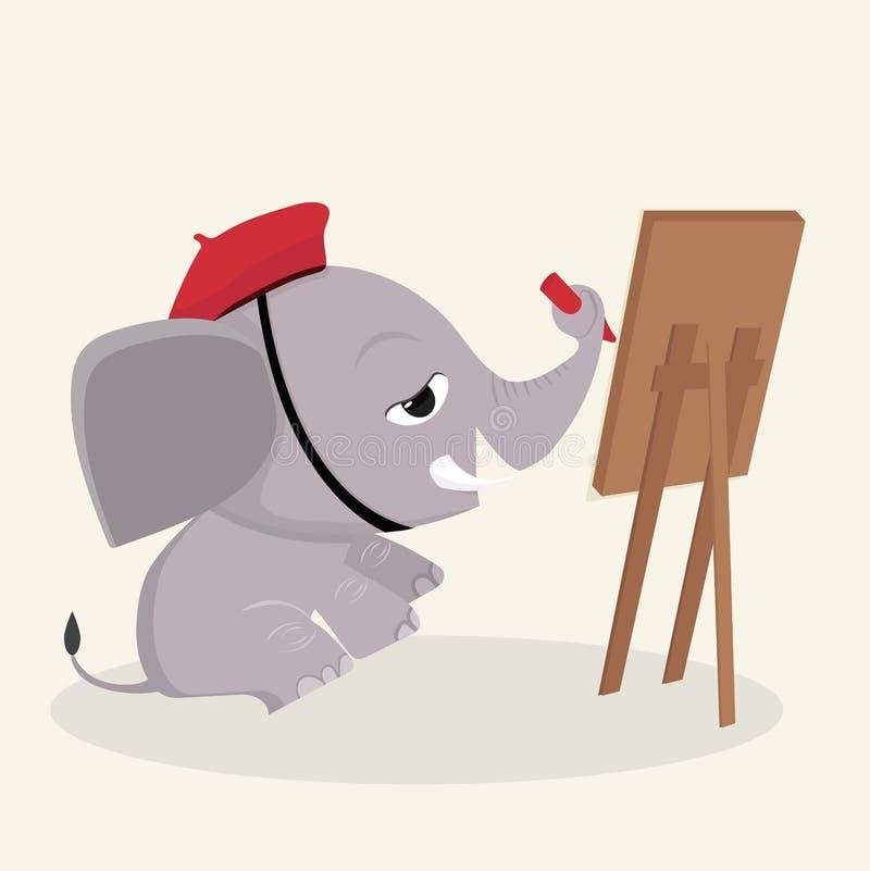 L'artiste d'éléphant dessine avec la peinture illustration stock
