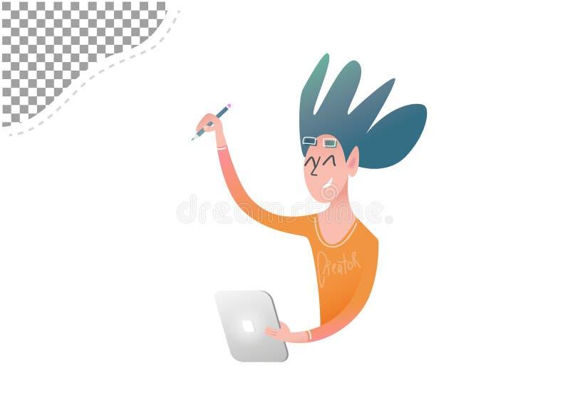 L'artiste gai d'indépendant dessine sur l'écran d'un comprimé numérique illustration libre de droits