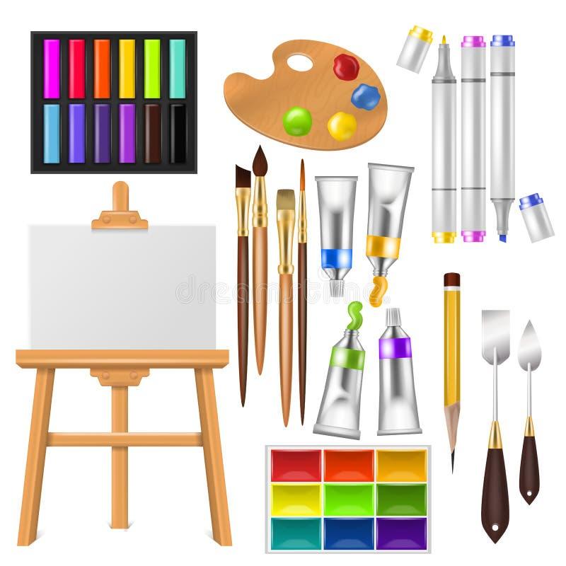 L'artiste usine l'aquarelle de vecteur avec des pinceaux palette et des peintures de couleur pour l'illustration dans l'illustrat illustration libre de droits