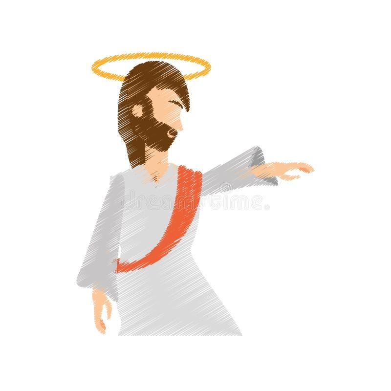l'ascensione di Gesù Cristo del disegno prega illustrazione di stock