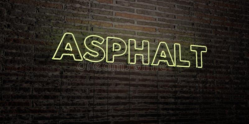 L'ASFALTO - insegna al neon realistica sul fondo del muro di mattoni - 3D ha reso l'immagine di riserva libera della sovranità illustrazione di stock