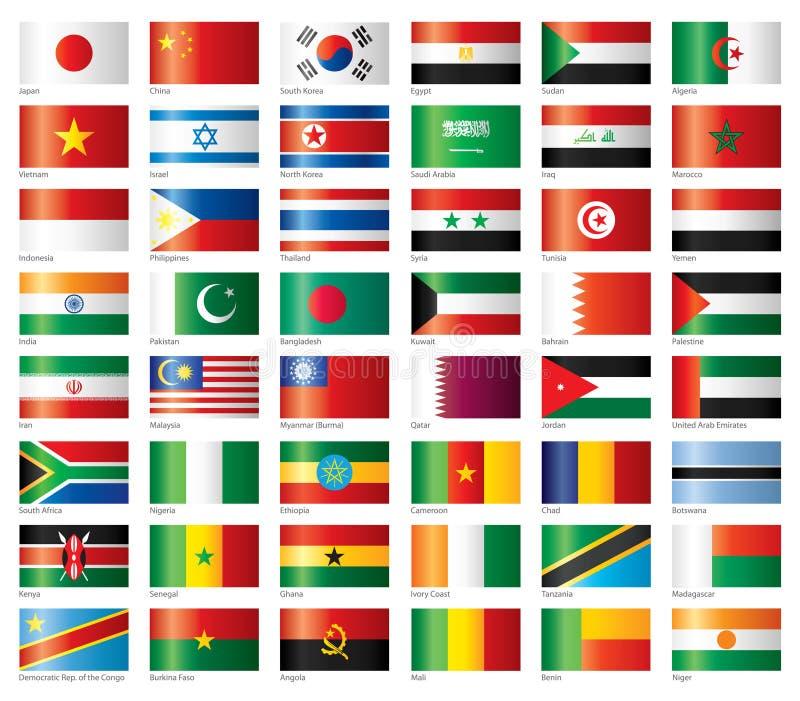 L'Asia & l'Africa impostate bandierine lucide illustrazione di stock