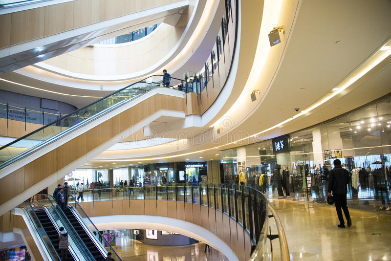 L'Asia Cina, Pechino, centro commerciale dell'indaco, ¼ dell'interno Œescalator dello structureï della costruzione fotografia stock libera da diritti