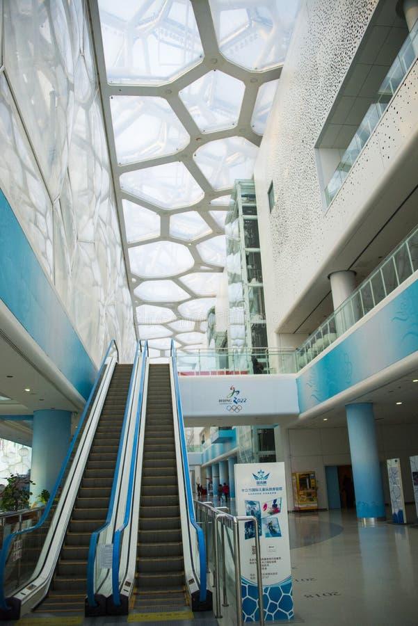 L'Asia Cina, Pechino, centro di nuoto nazionale, ¼ dell'interno ŒEscalator del ï fotografia stock