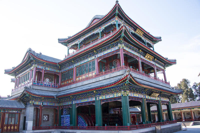 L'Asia Cina, Pechino, il palazzo di estate, architettura classica, costruzione del teatro del giardino e del cuore fotografia stock libera da diritti