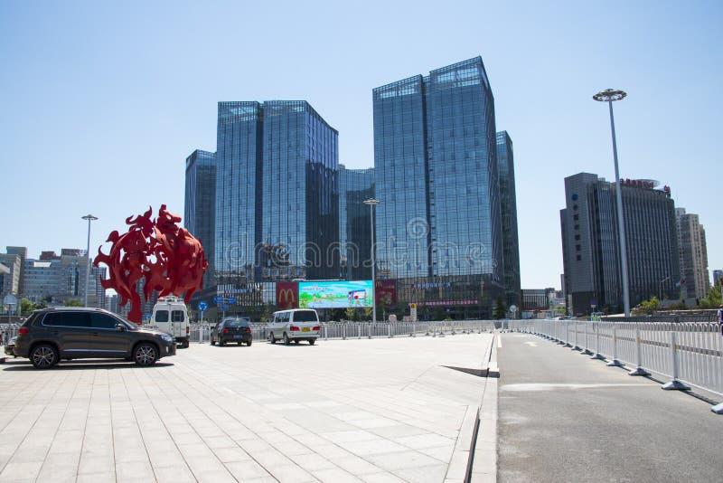 L'Asia Cina, Pechino, l'architettura moderna, il paese ha votato il quadrato di ricchezza fotografie stock libere da diritti