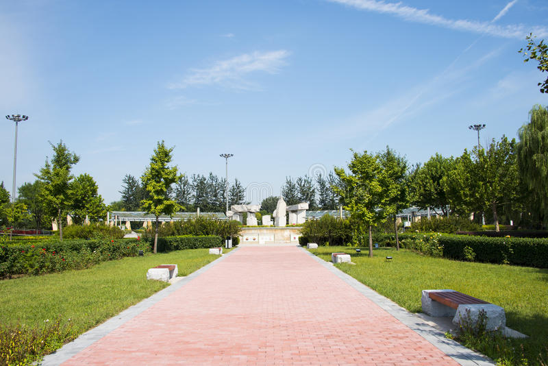 L'Asia Cina, Pechino, parco di Jianhe, ¼ Œ del architectureï del paesaggio immagine stock libera da diritti