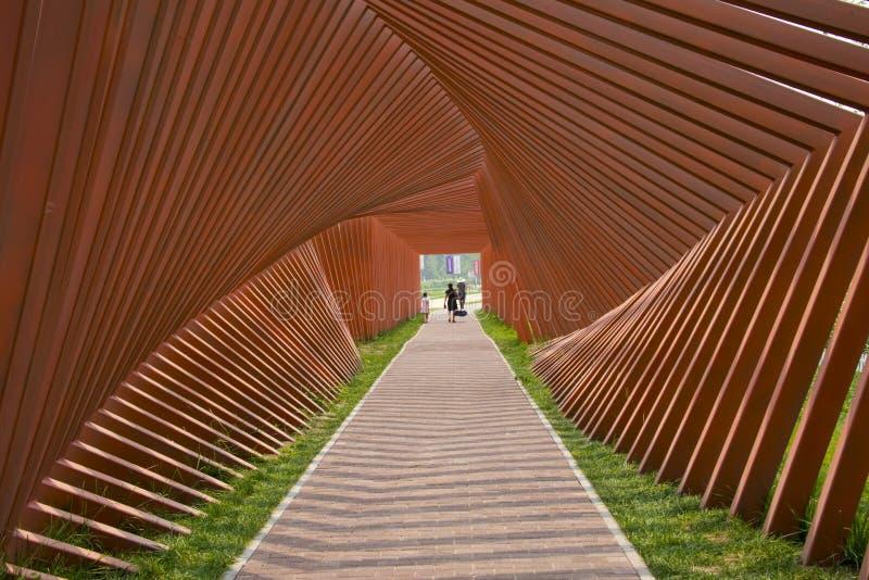 L'Asia Cina, Pechino, Yanqing, Expo del vino del mondo, corridoio moderno di ŒLandscape del ¼ del architectureï immagini stock libere da diritti
