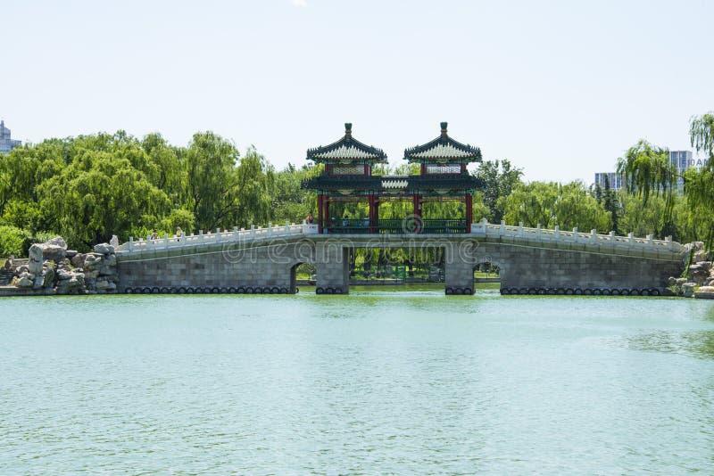 L'Asia parco di Cina, Pechino, lago Longtan, ponte del padiglione fotografia stock libera da diritti