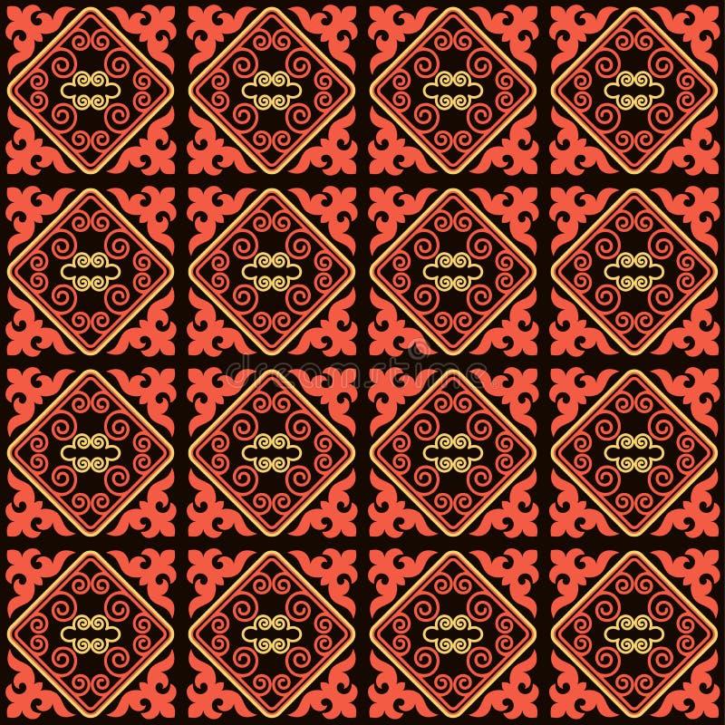 L'asiatico orna la raccolta Storicamente ornamentale della gente nomade Ha basato sui tappeti reale-kazaki di feltro e di lana royalty illustrazione gratis