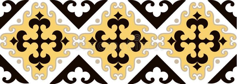 L'asiatico orna la raccolta Storicamente ornamentale della gente nomade Ha basato sui tappeti reale-kazaki di feltro e di lana illustrazione vettoriale
