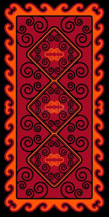 L'Asiatique ornemente la collection Historiquement ornamental des personnes nomades Il a basé sur des tapis de vrai-Kazakh de feu illustration de vecteur