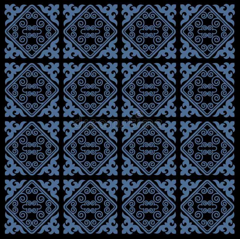 L'Asiatique ornemente la collection Historiquement ornamental des personnes nomades Il a basé sur des tapis de vrai-Kazakh de feu illustration stock