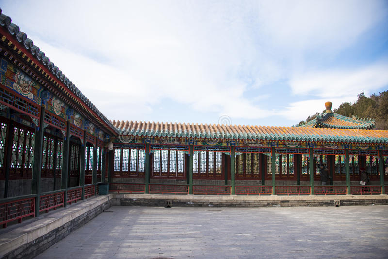 L'Asie Chine, Pékin, le palais d'été, le long couloir images libres de droits
