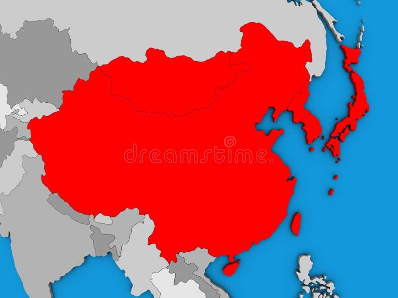 L'Asie de l'Est sur la carte 3D illustration libre de droits