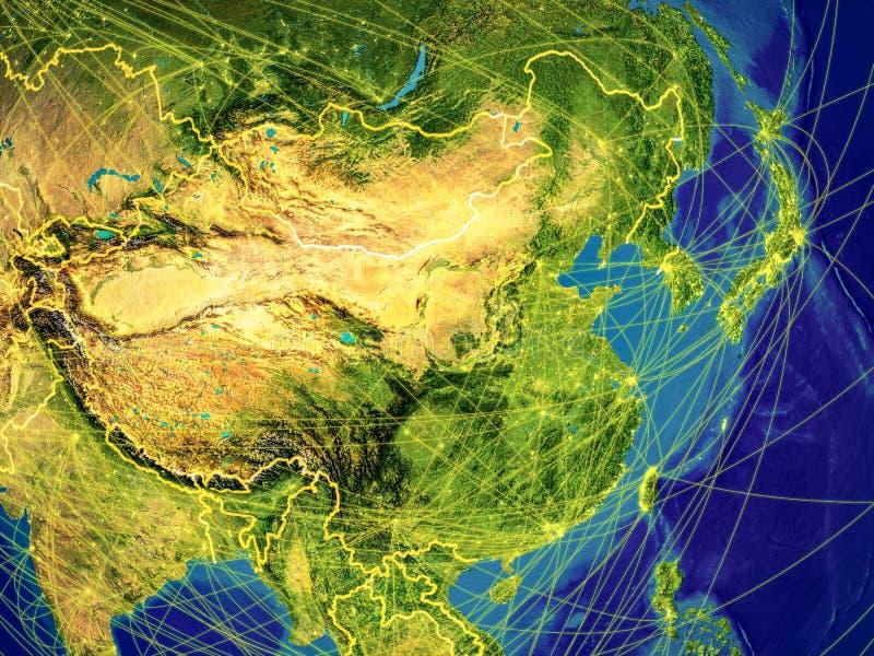L'Asie de l'Est sur terre illustration de vecteur
