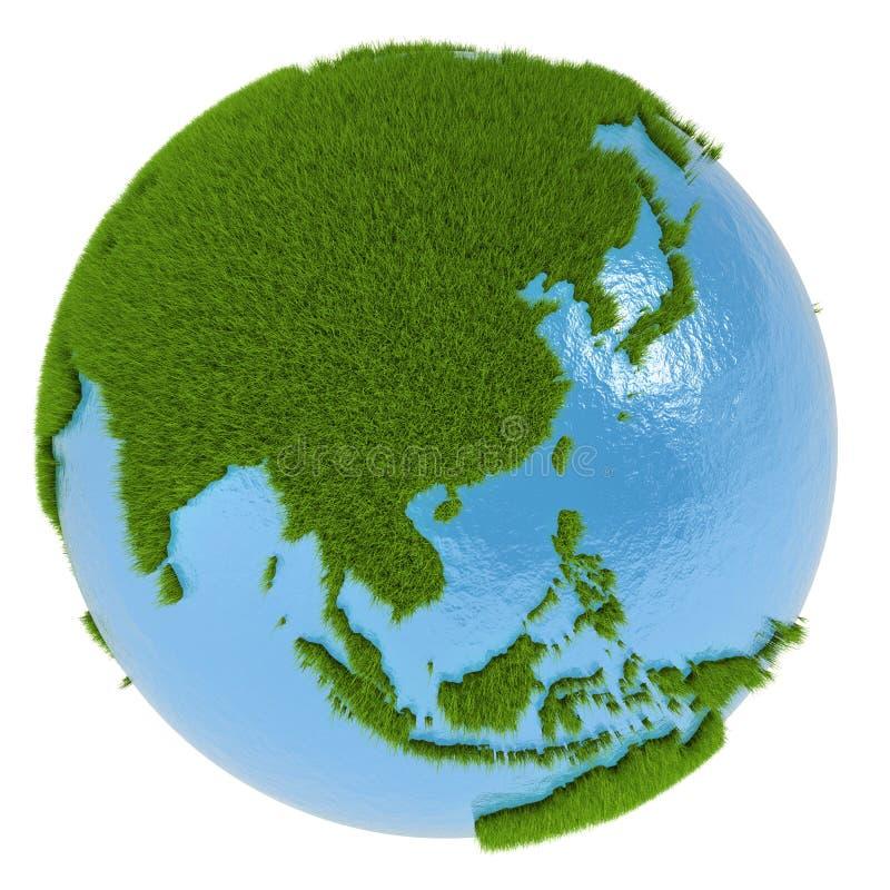 L'Asie de l'Est sur la planète verte illustration de vecteur