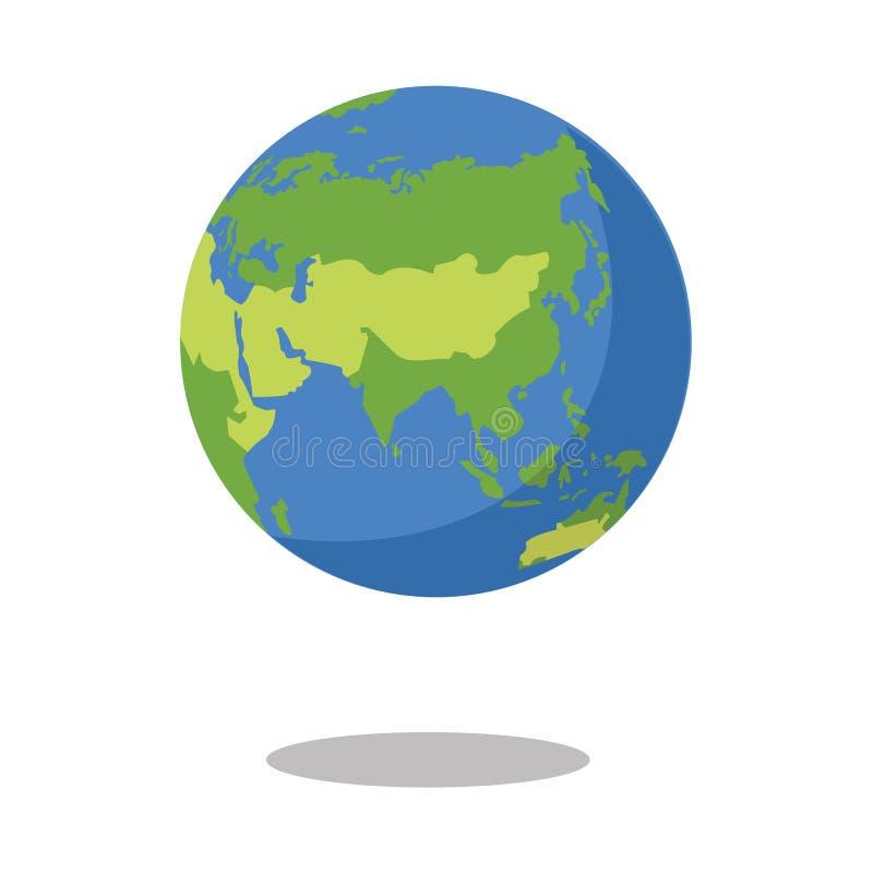 L'Asie a isolé sur l'illustration plate de vecteur d'icône de la terre de planète de fond blanc illustration libre de droits