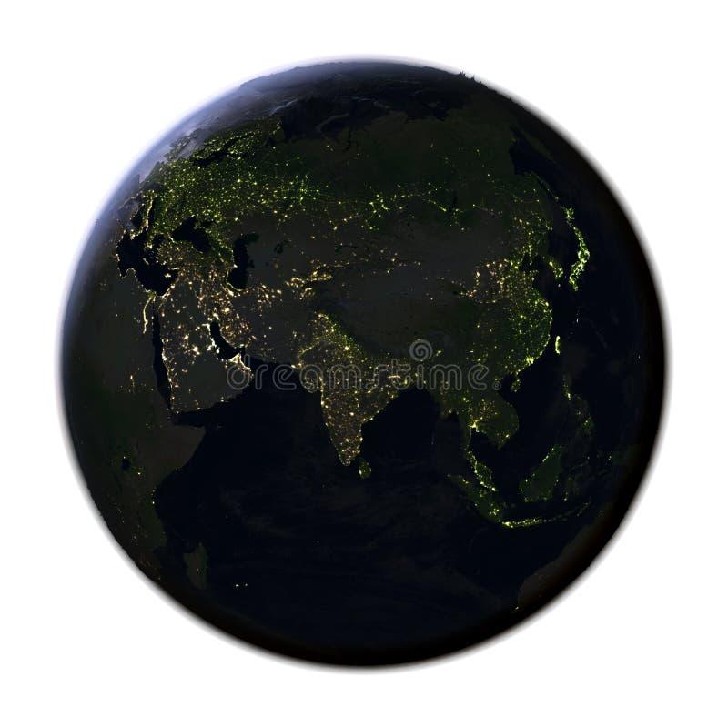 Download L'Asie Sur Terre La Nuit D'isolement Sur Le Blanc Illustration Stock - Illustration du région, réaliste: 87700978