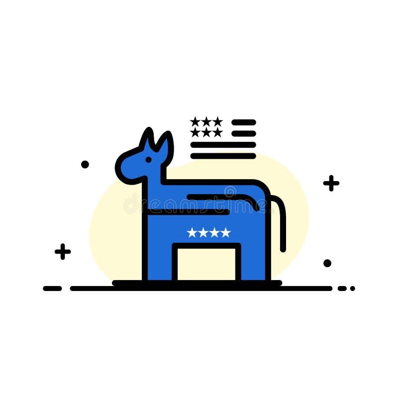 L'asino, americano, politico, linea piana di affari di simbolo ha riempito il modello dell'insegna di vettore dell'icona illustrazione di stock