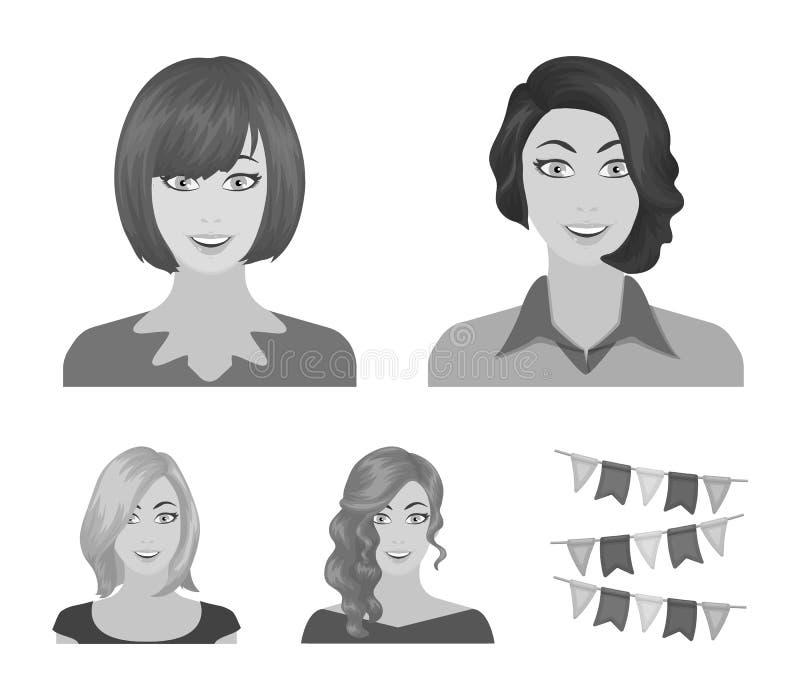 L'aspect d'une femme avec une coiffure, le visage d'une fille Visage et icônes réglées de collection d'aspect dans le monochrome illustration libre de droits
