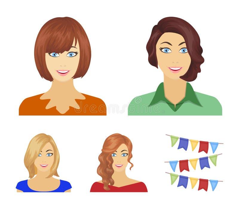 L'aspect d'une femme avec une coiffure, le visage d'une fille Visage et icônes réglées de collection d'aspect dans le style de ba illustration libre de droits