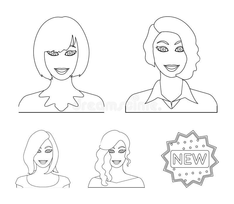 L'aspect d'une femme avec une coiffure, le visage d'une fille Visage et icônes réglées de collection d'aspect dans le style d'ens illustration de vecteur