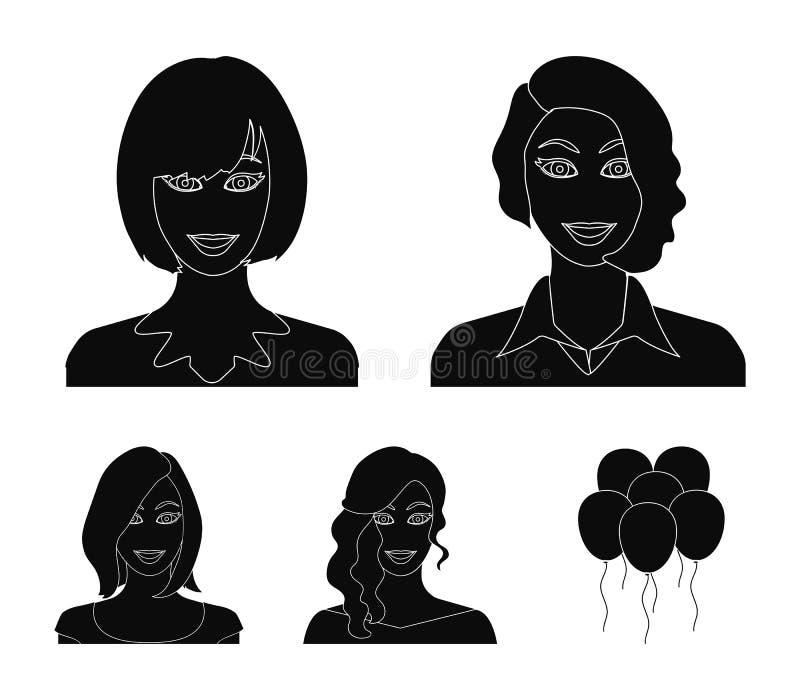 L'aspect d'une femme avec une coiffure, le visage d'une fille Visage et icônes réglées de collection d'aspect dans le style noir illustration libre de droits