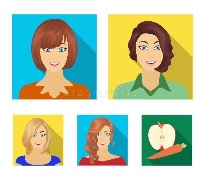 L'aspect d'une femme avec une coiffure, le visage d'une fille Visage et icônes réglées de collection d'aspect dans le style plat illustration stock