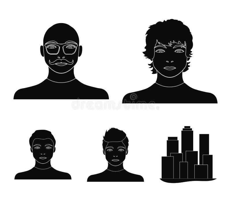 L'aspect du jeune type, le visage d'un homme chauve avec une moustache en ses verres Visage et ensemble d'aspect illustration libre de droits