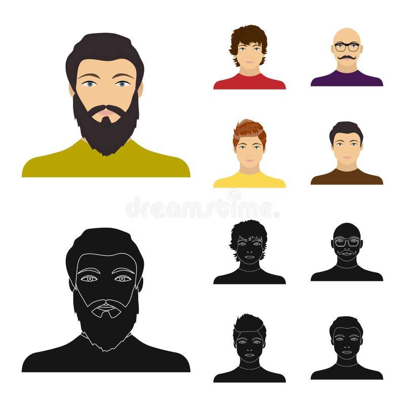 L'aspetto di giovane tipo, il fronte di un uomo calvo con i baffi in suoi vetri Fronte ed insieme di aspetto illustrazione di stock