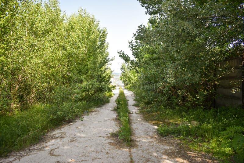 L'asphalte abandonné a fendu la route avec les usines et l'herbe envahies au milieu de nulle part dans une certaine ville de fant images stock