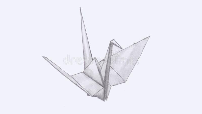 L'aspiration de main de l'origami tendent le cou illustration libre de droits