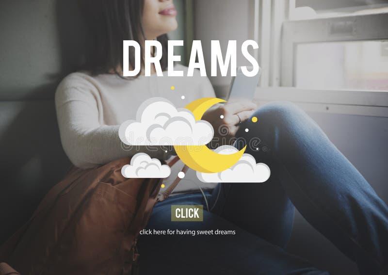 L'aspirazione di sogni crede il concetto di motivazione di ispirazione fotografie stock libere da diritti
