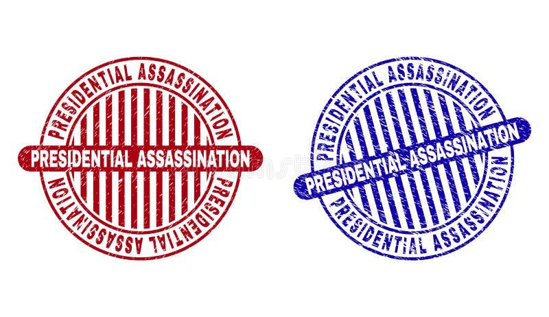 L'ASSASSINAT PRÉSIDENTIEL grunge a donné aux timbres une consistance rugueuse ronds illustration stock