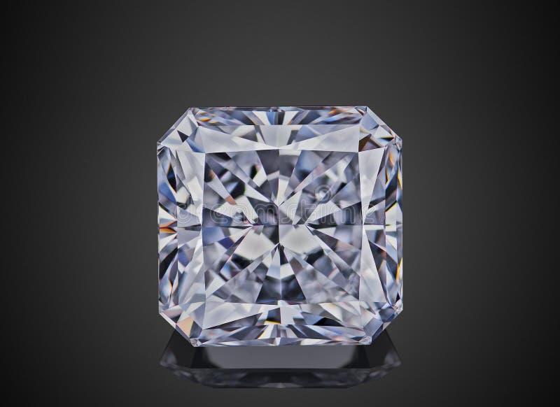 L'asscher de scintillement transparent sans couleur de luxe de forme de pierre gemme a coupé le diamant d'isolement sur le fond n photographie stock libre de droits