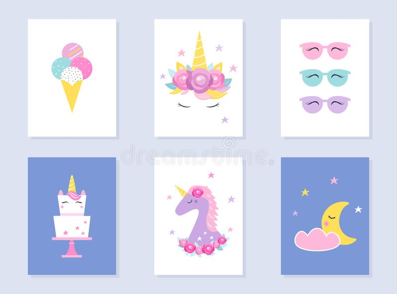 L'assoupissement d'enfants et la partie d'été invite Licornes et lune Conception de vecteur illustration de vecteur
