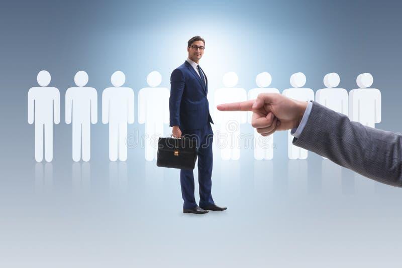 L'assunzione ed il concetto di occupazione con l'impiegato selezionato immagini stock