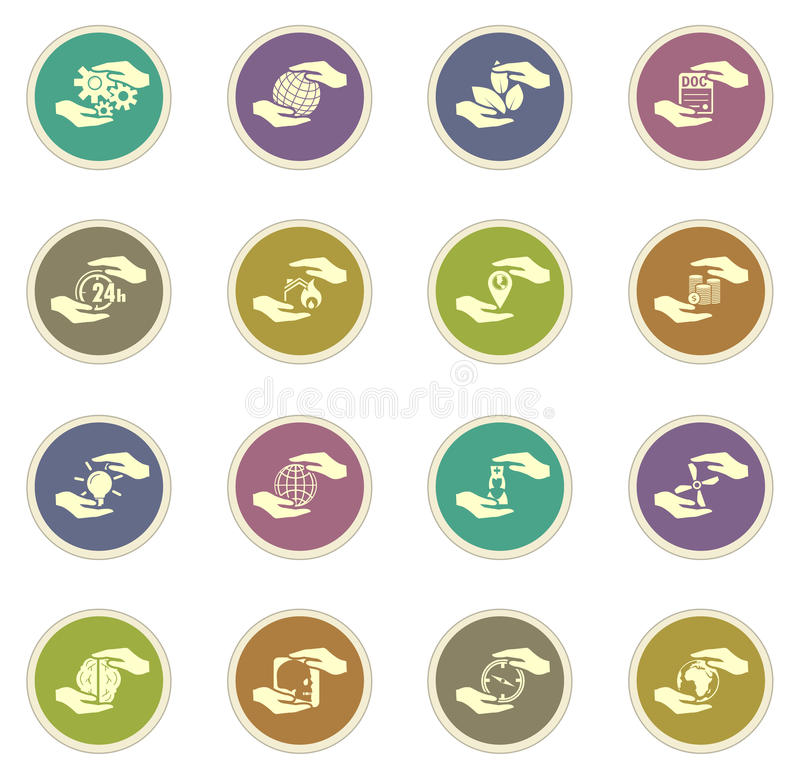 L'assurance remet des icônes illustration stock