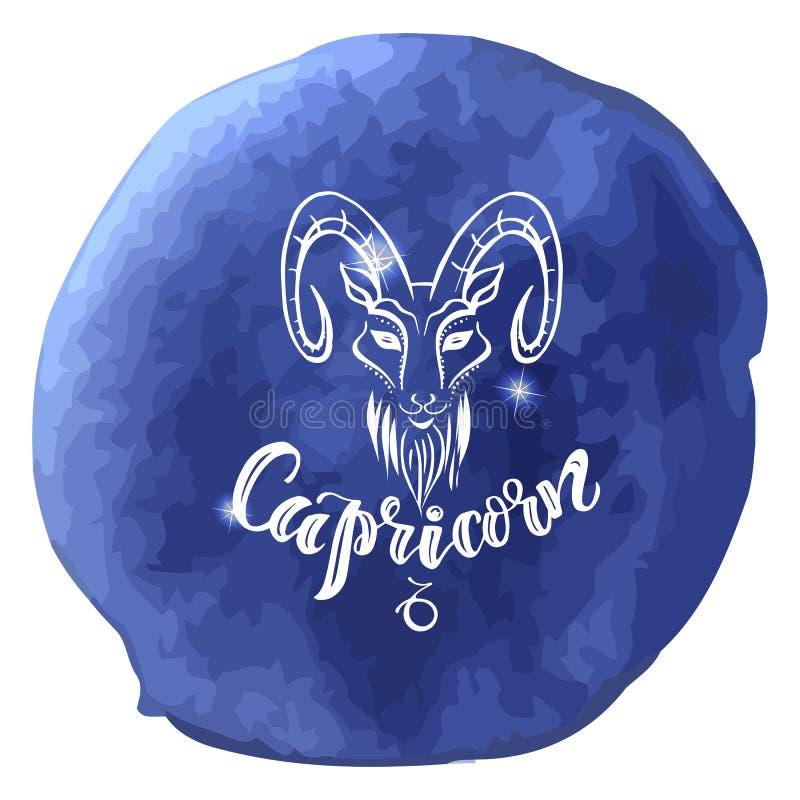 L'astrologie se connectent le fond bleu d'aquarelle avec le letteri moderne photo stock