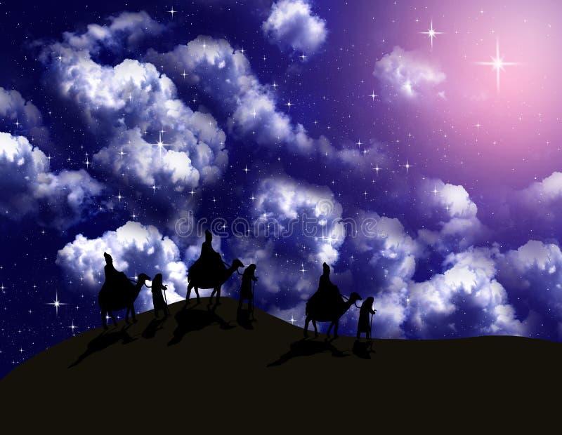 L'astrologue suivent l'étoile lumineuse illustration stock