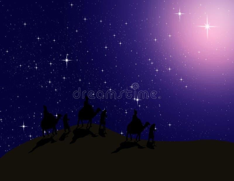 L'astrologue suivent l'étoile lumineuse en ciel de nuit illustration stock