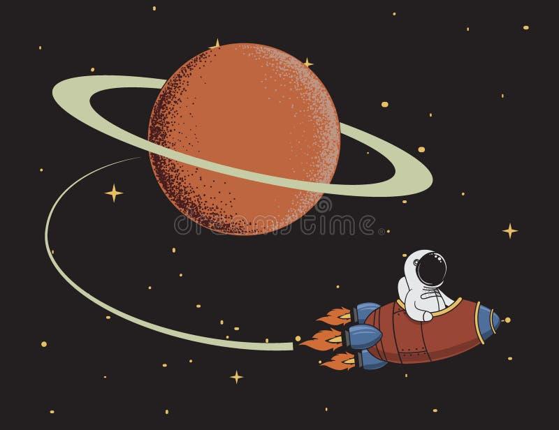 L'astronauta ritorna dopo la missione a Saturn illustrazione vettoriale