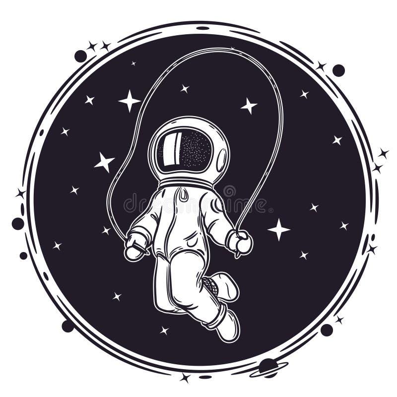 L'astronauta salta con un salto della corda Illustrazione di vettore di spazio Illustrazione sul tema di astronomia royalty illustrazione gratis