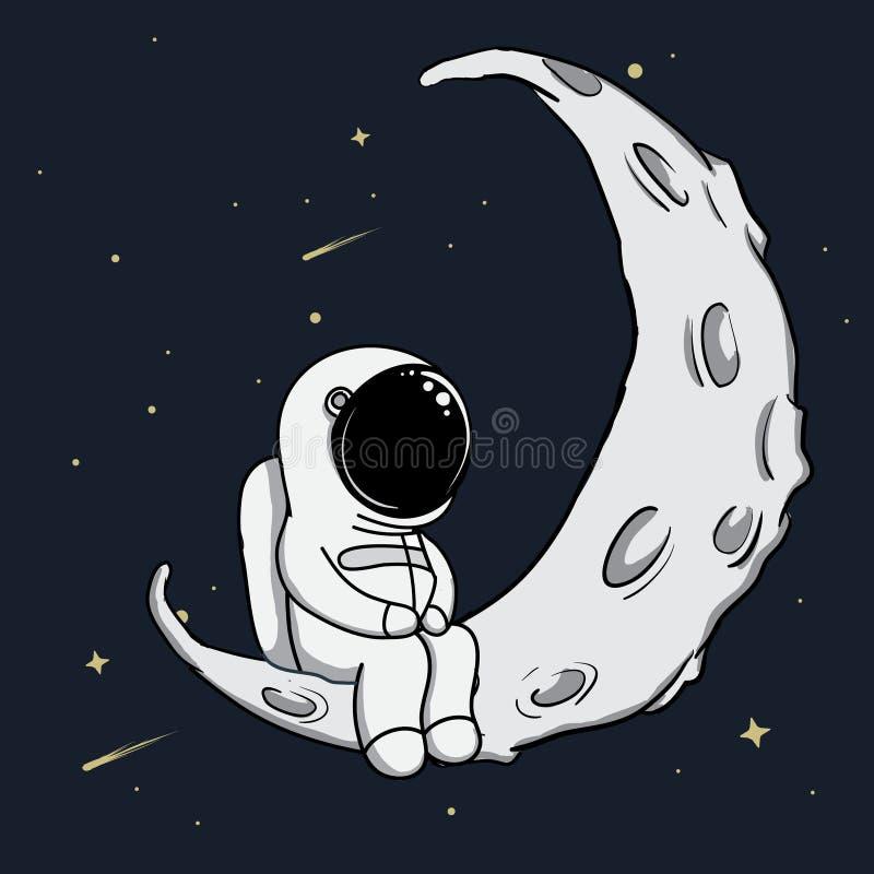 L'astronaute mignon s'assied sur le croissant de lune illustration stock