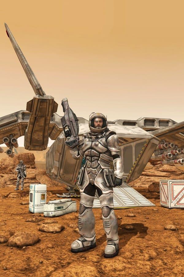 L'astronaute militaire trouble dessus l'avant-poste illustration de vecteur