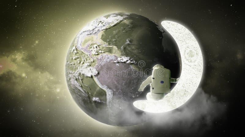 L'astronaute regarde la terre des solides totaux d'Elemen de lune de cet ima illustration libre de droits