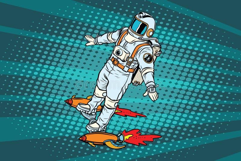 L'astronaute vole sur une planche à roulettes de fusée d'espace illustration libre de droits